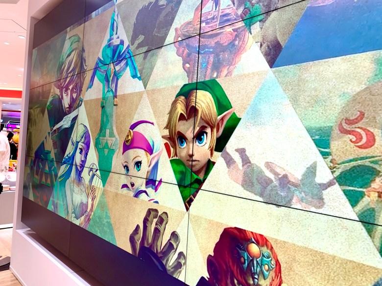 Legend of Zelda wall monitor in Shibuya Nintendo Tokyo