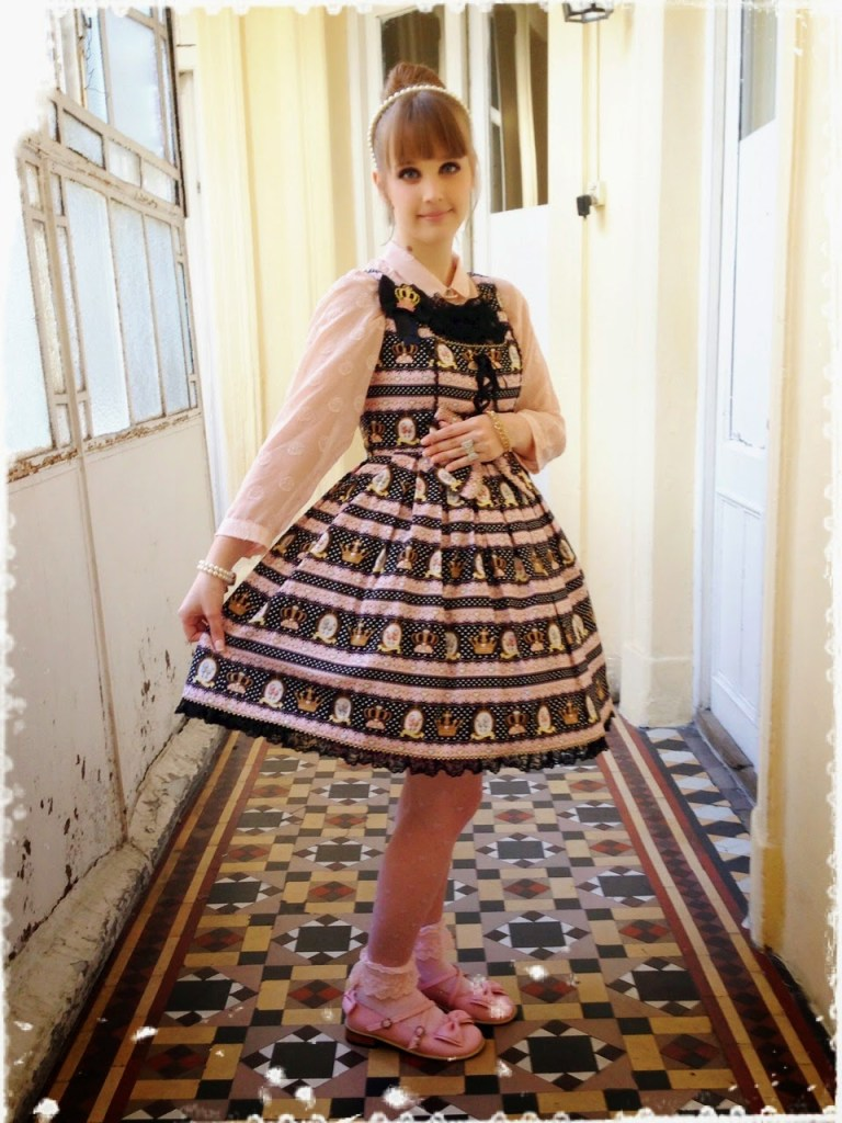 Royal Poodle JSK in Pink and Black, Angelic Pretty